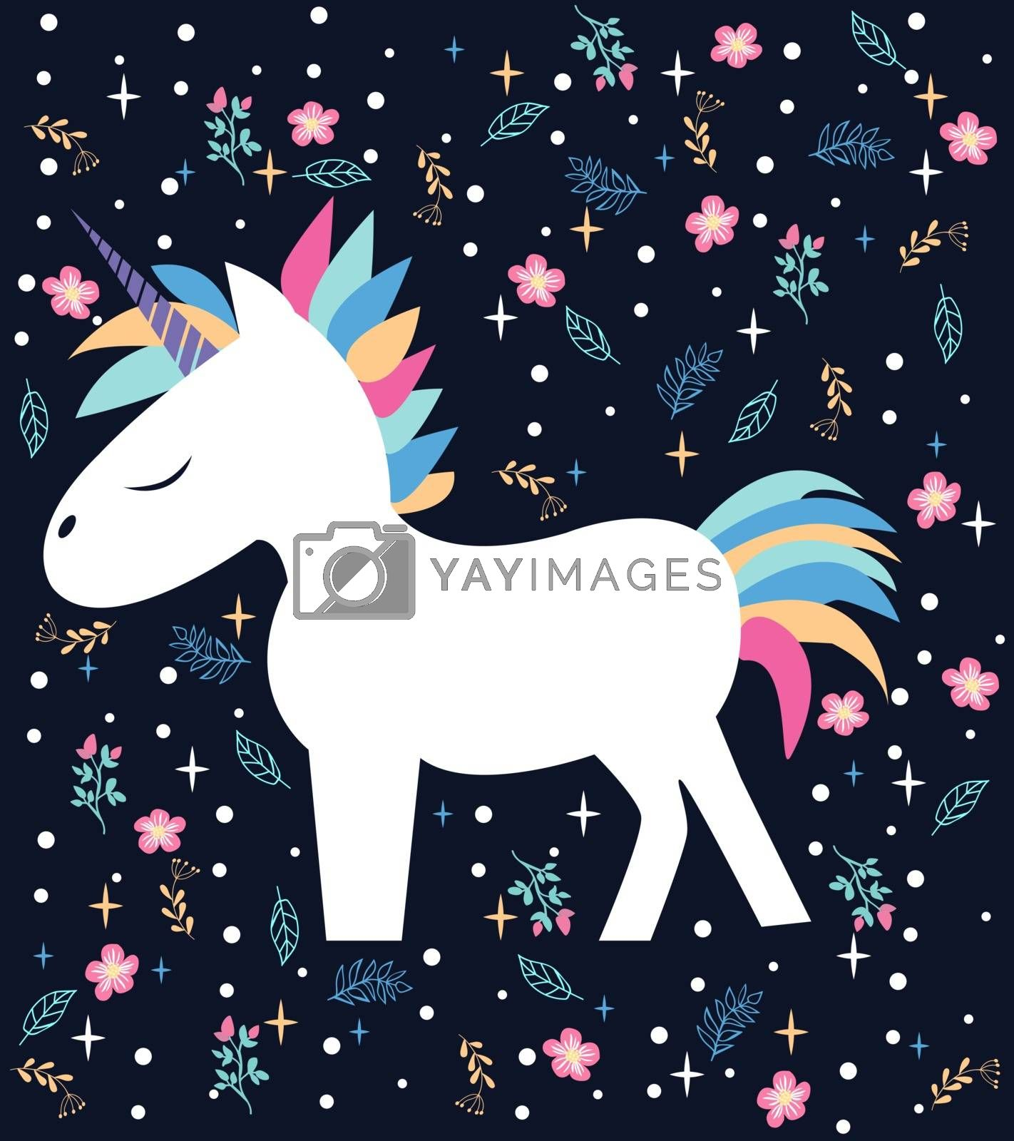 vector beautiful cartoon the unicorn on a blue background