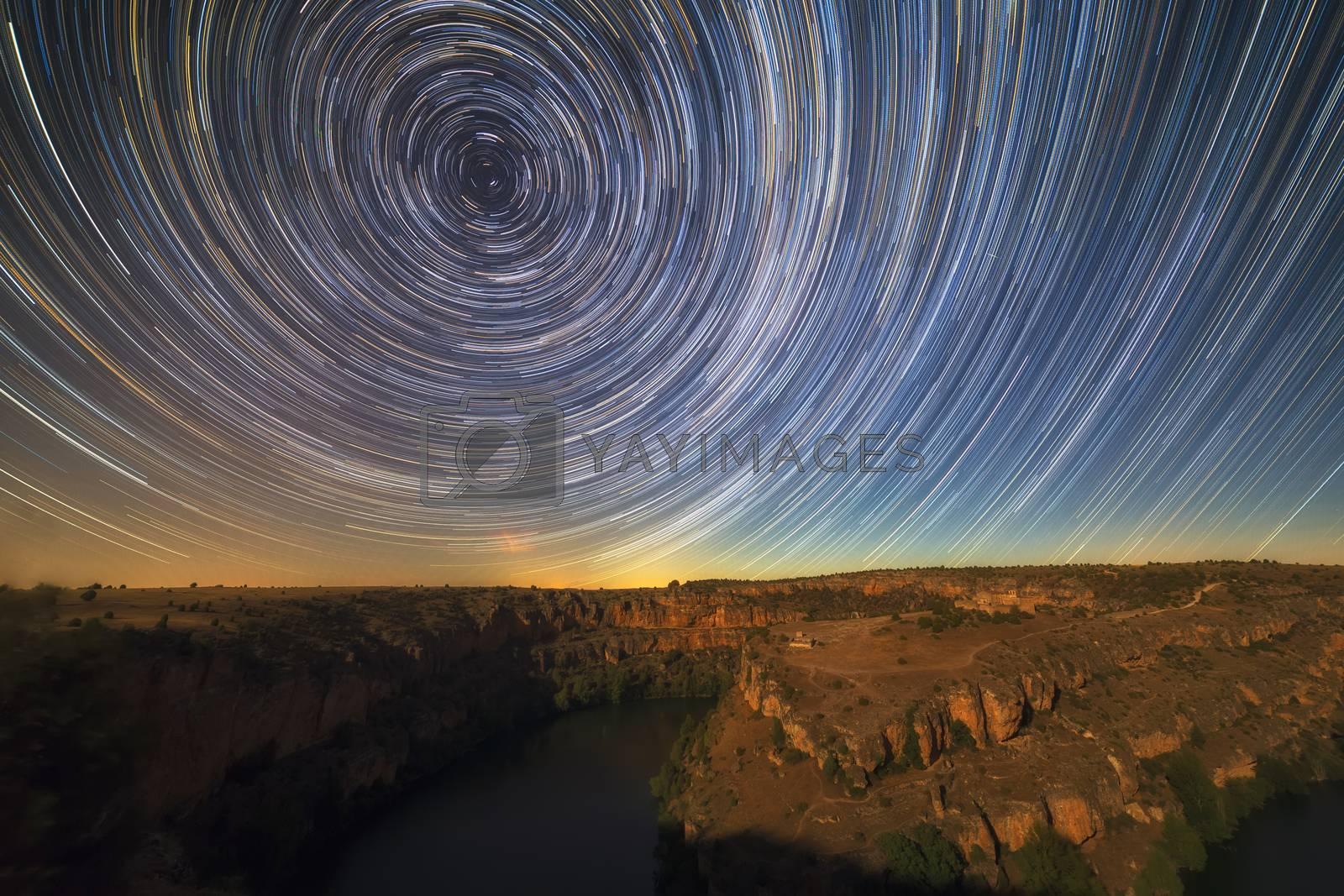 Star trails over Duraton river