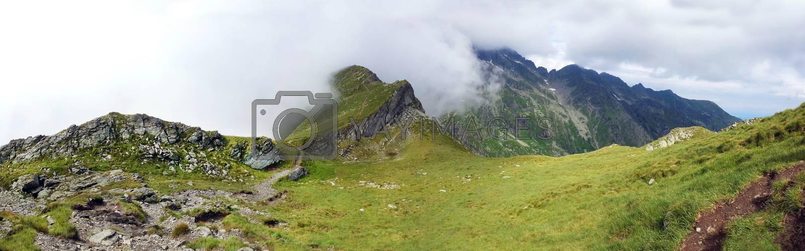 Panoramic view of Fagaras Mountain on summer, part of the Carpathian Range, Romania - path to Negoiu peak
