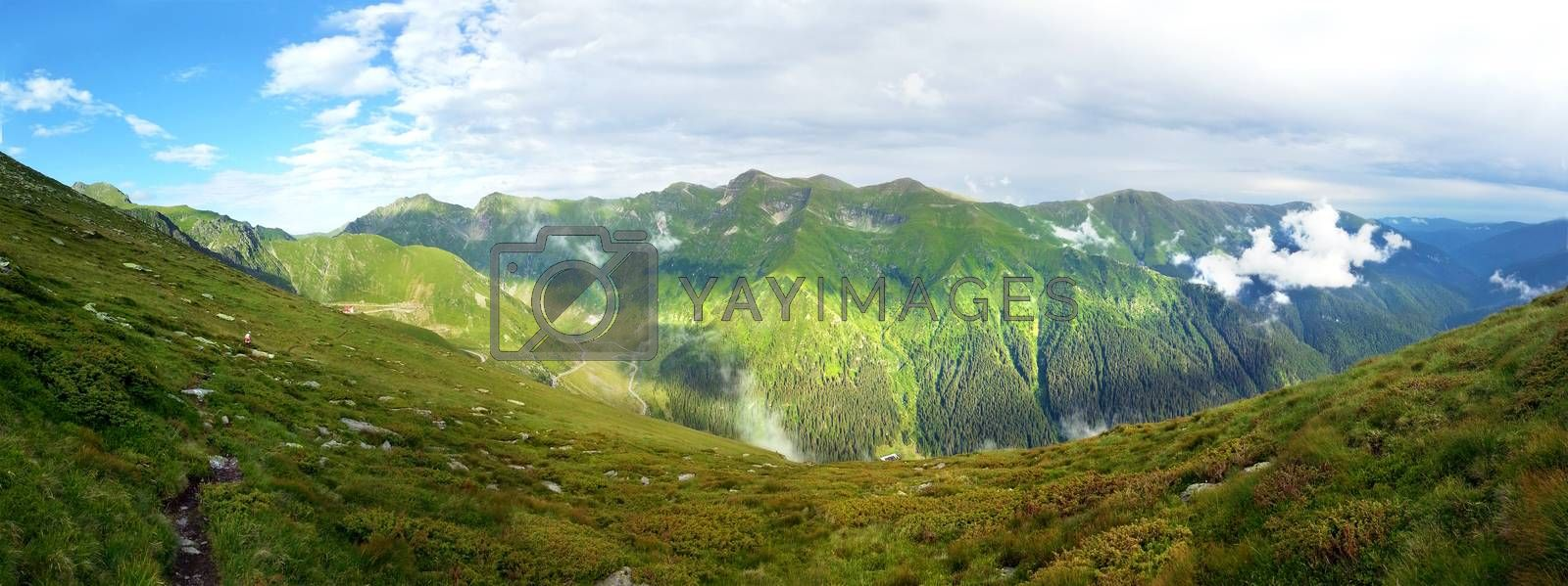 Panoramic view of Fagaras Mountain on summer, part of the Carpathian Range from Romania