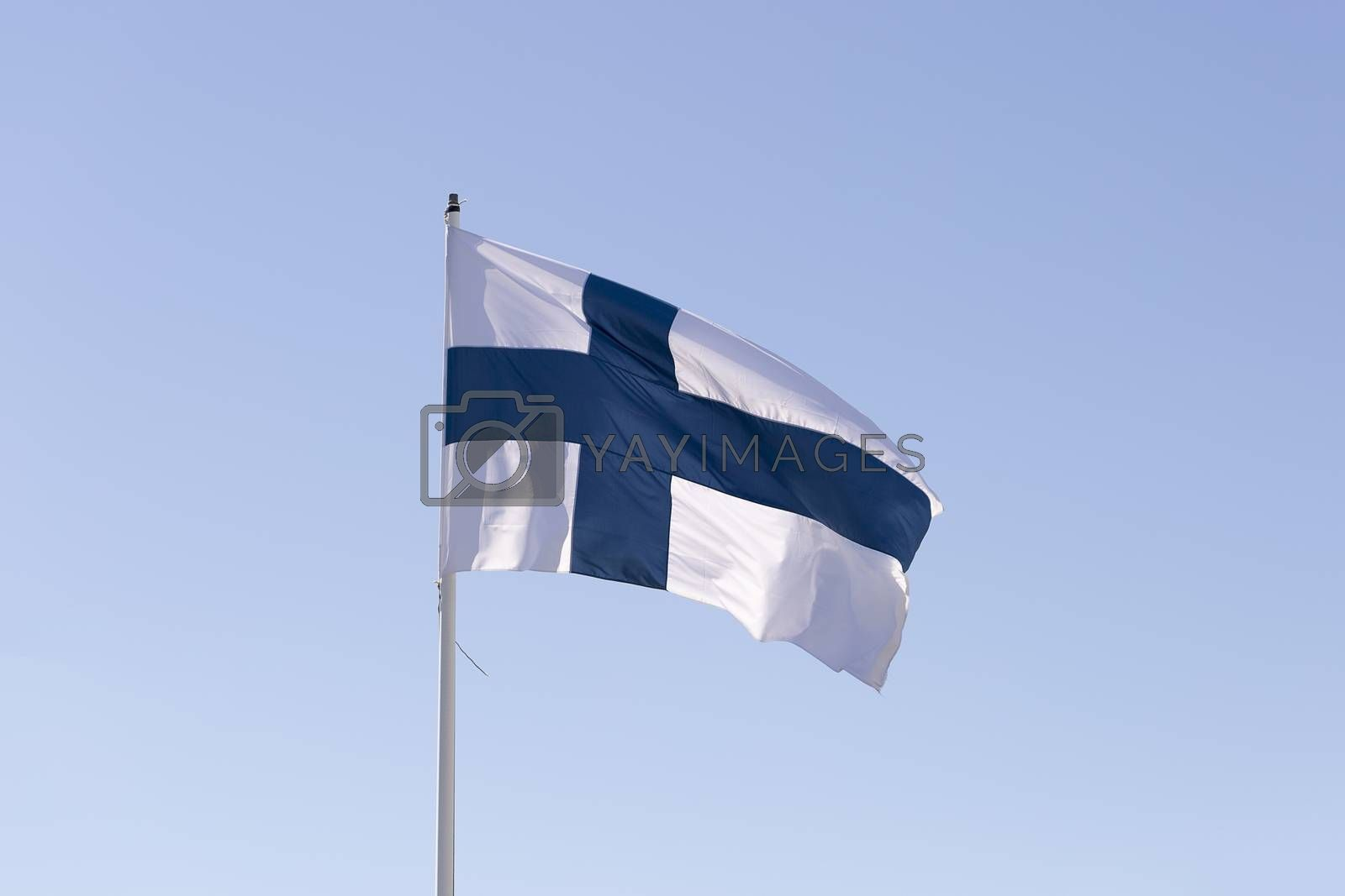 The Flag of Finland Waving in the Wind by Emmoth