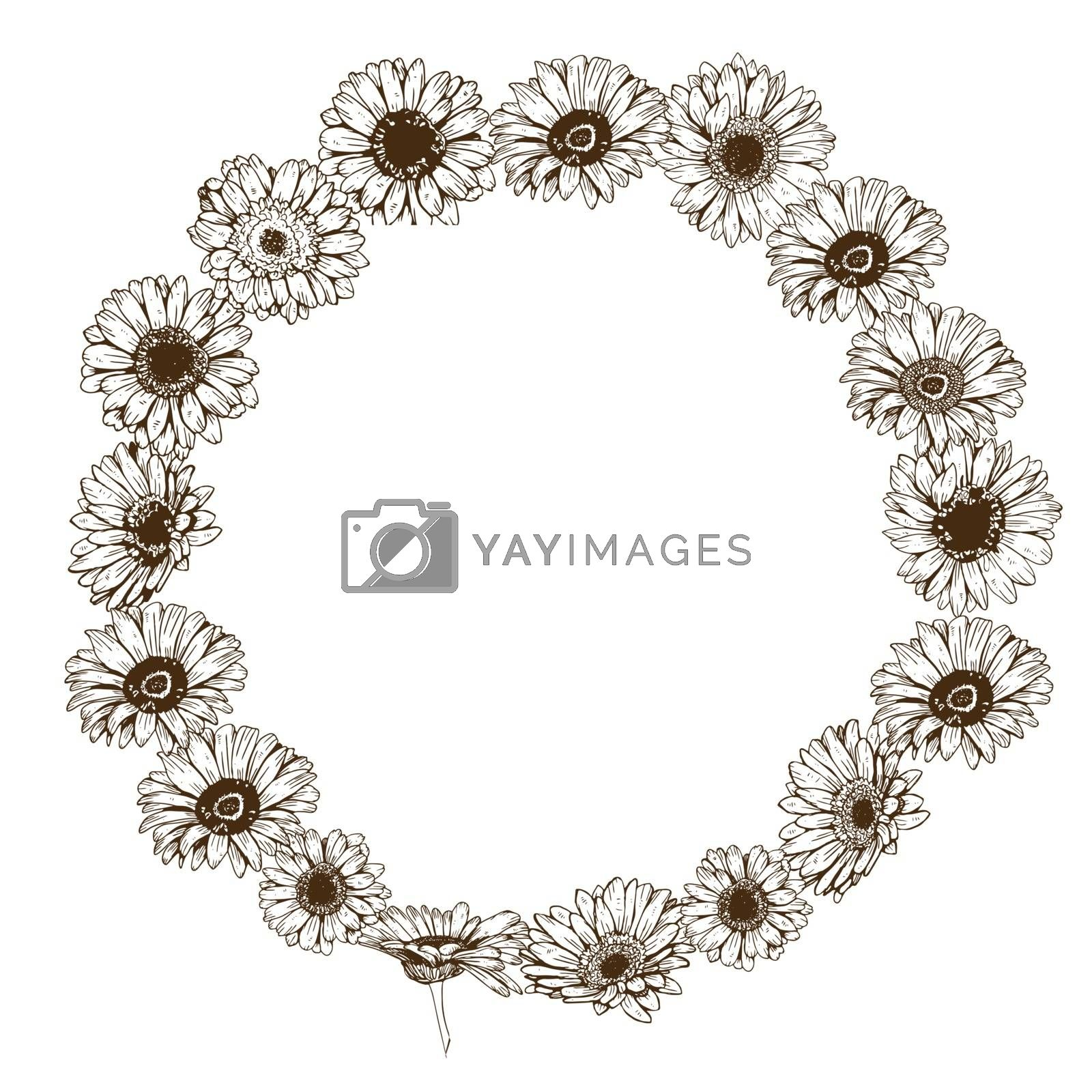 Circle floral frame of colorfull daisies flowers. Vector illustration