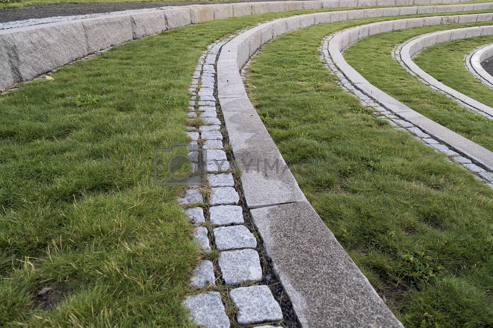 Curved Steps with Stone and Grass by Emmoth