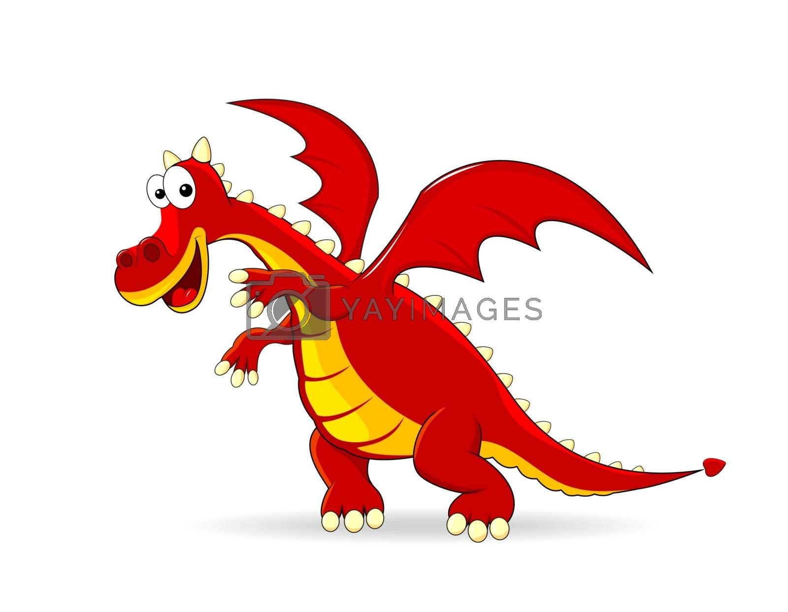 Red  dragon  on a white background.