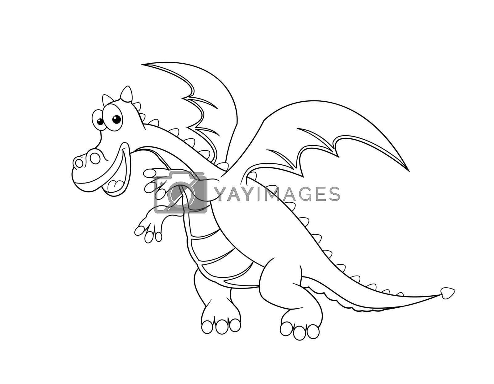 Dragon outline in black on a white background.