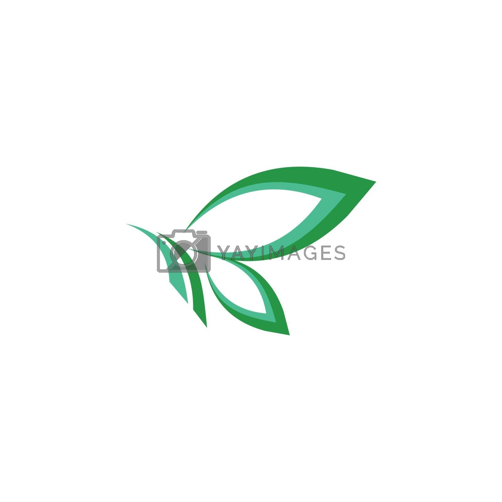 green leaves butterfly logo symbol icon vector design, butterfly illustration logo concept business