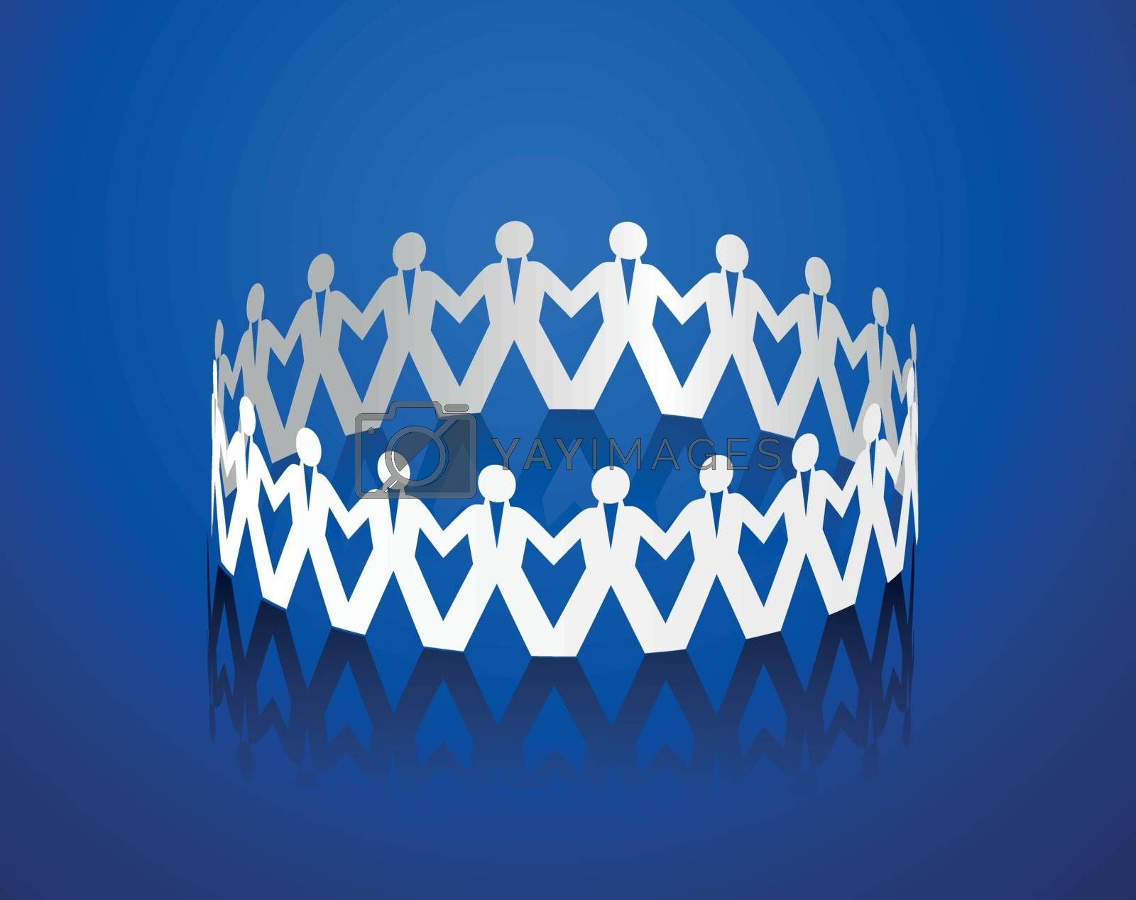 Paper men holding hands in the shape of a circle. Vector illustration