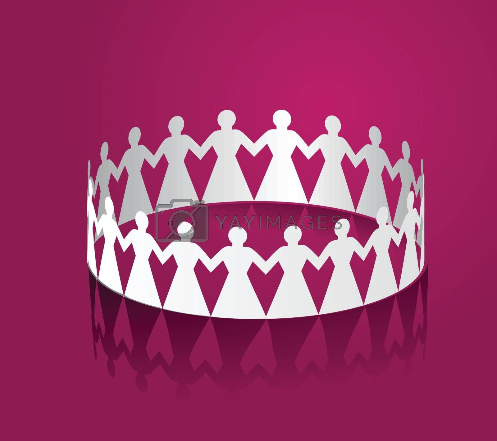 Paper women holding hands in the shape of a circle. Vector illustration