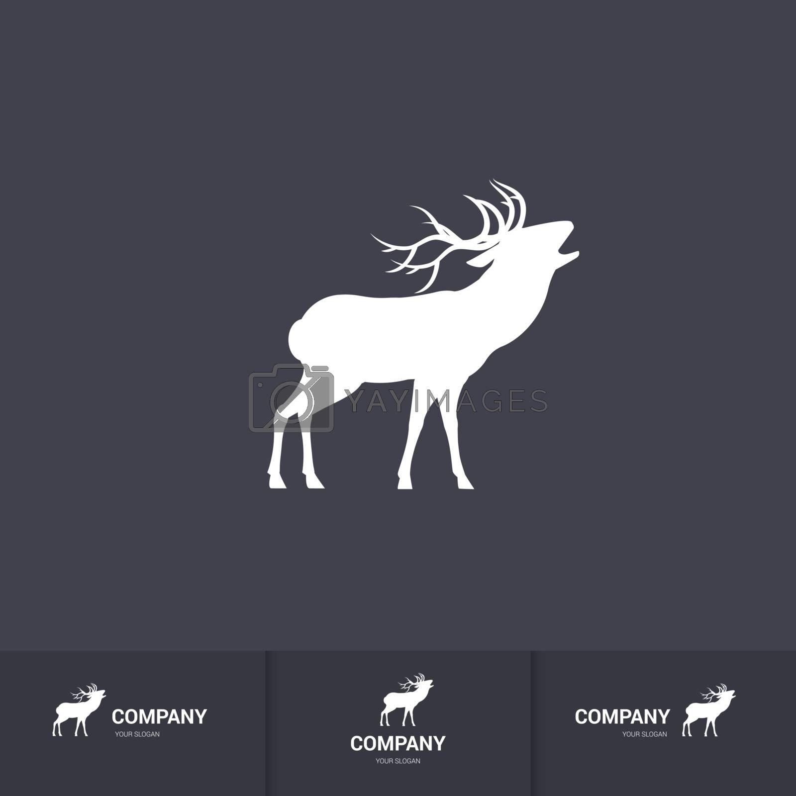 Simple Roaring Horned Deer Silhouette for Mascot Logo Template on Dark Background
