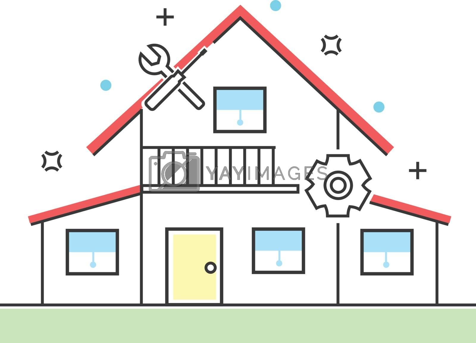 Fixing house line icons. Construction, building and architecture vector illustration