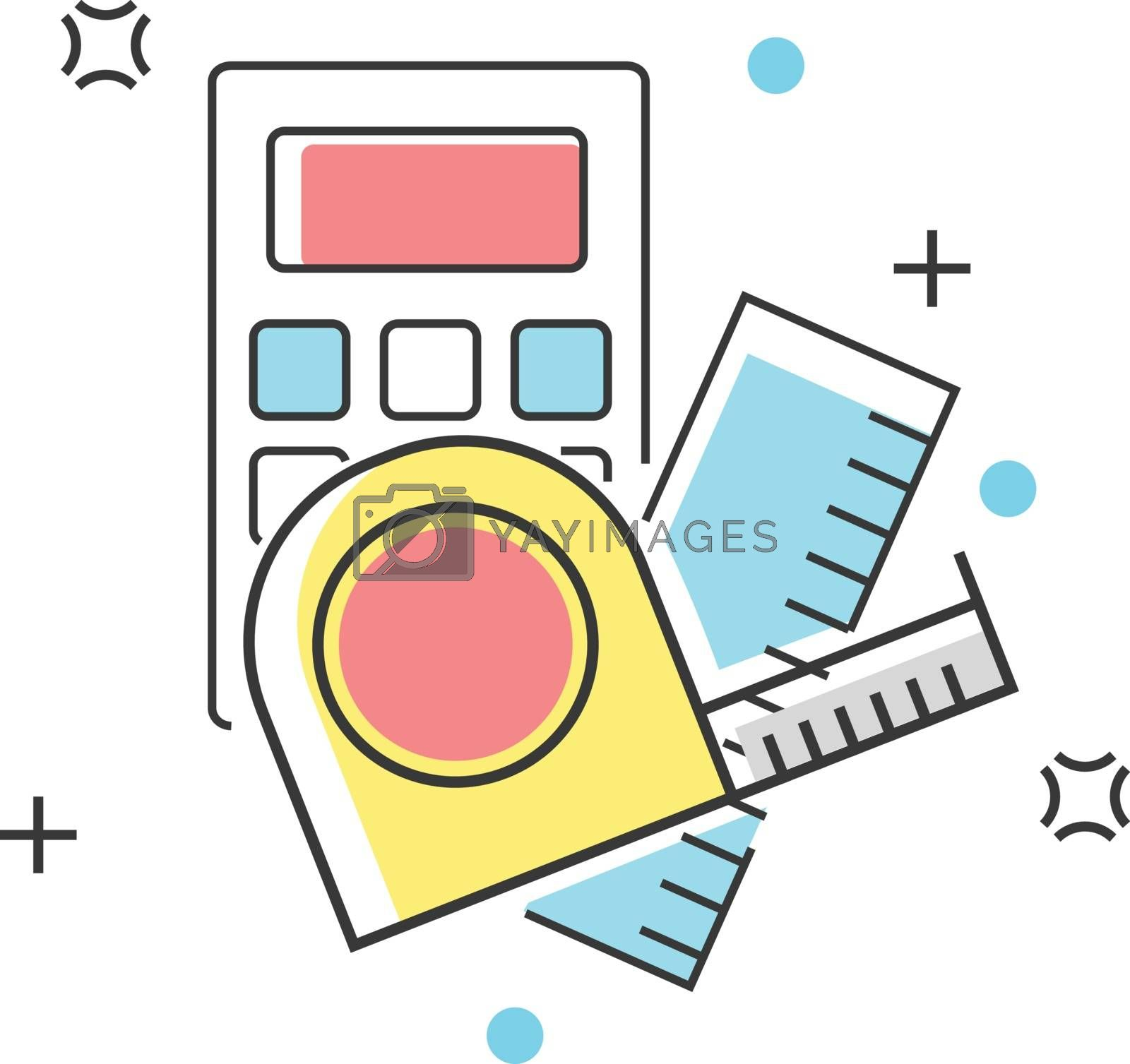 Calculator and measuring equipment construction color line icon. Buildings, engineering, property, architecture and materials vector illustration by glossygirl21