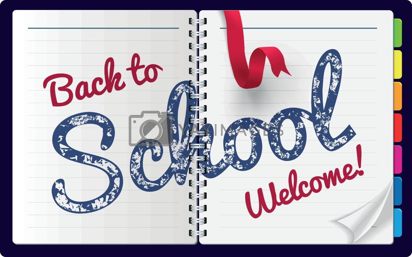 Back to school Illustration on a notepad background. Vector illustration