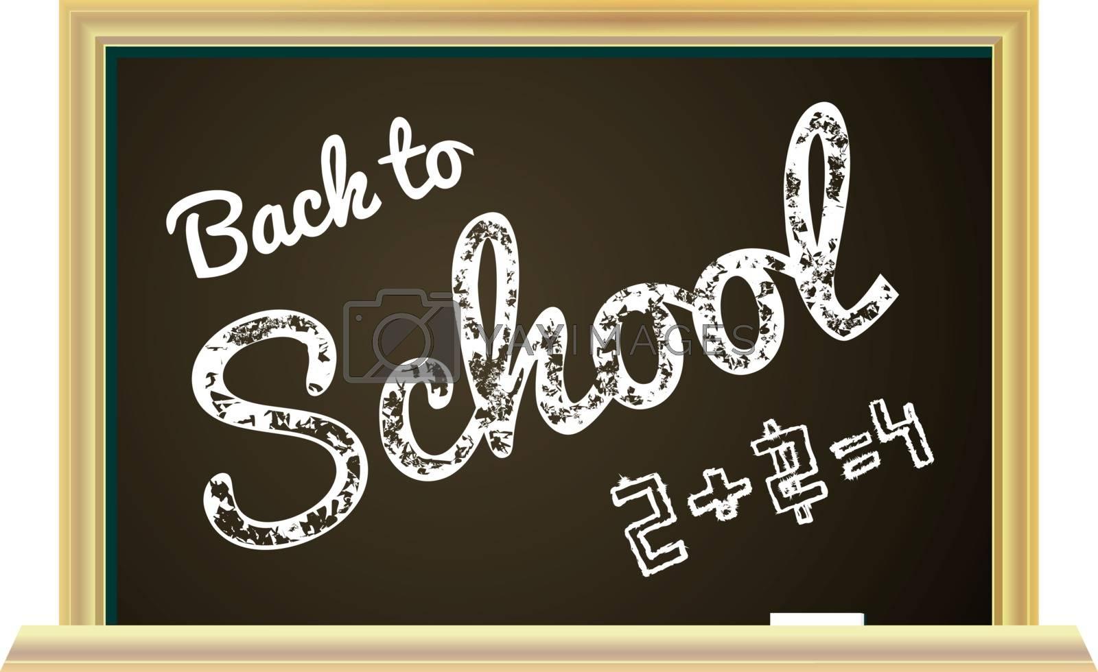 Back to school Illustration on a chalkboard background. Vector illustration