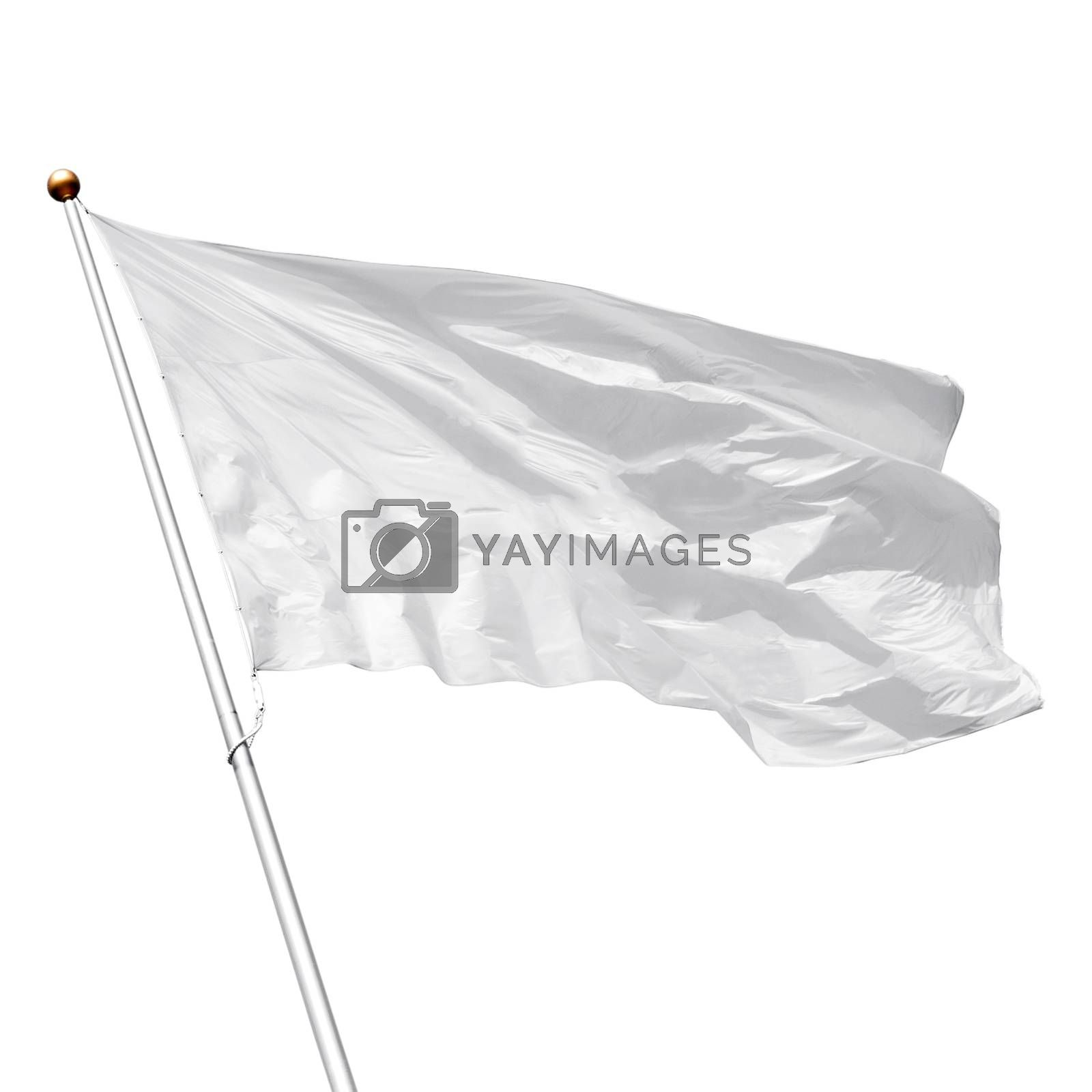 White flag waving in the wind on white background. Perfect mockup to add any logo, symbol or sign