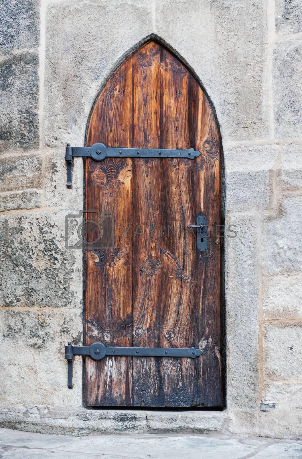 Ancient wooden medieval castle doors