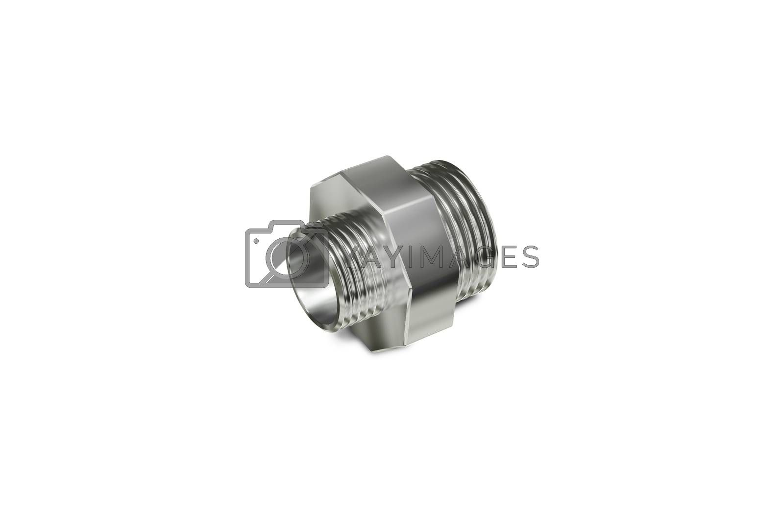 3d illustration Metallic Chrome Plated Industrial Part