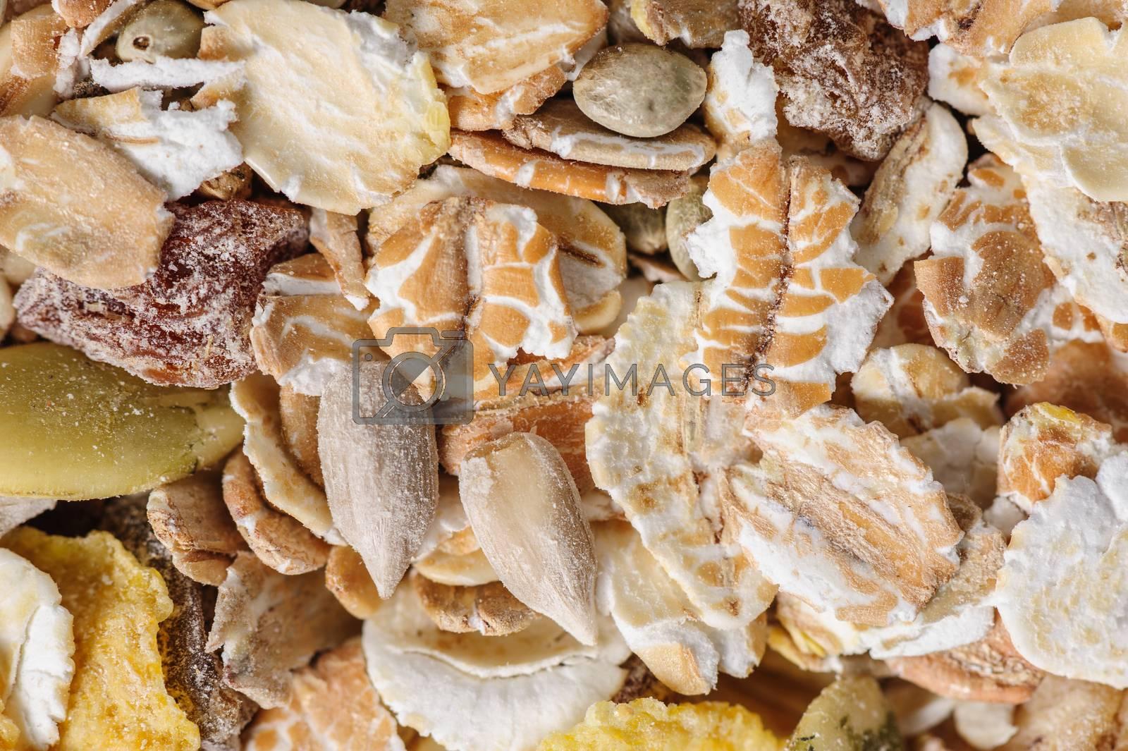 Dry muesli macro closeup shot from above, good as background