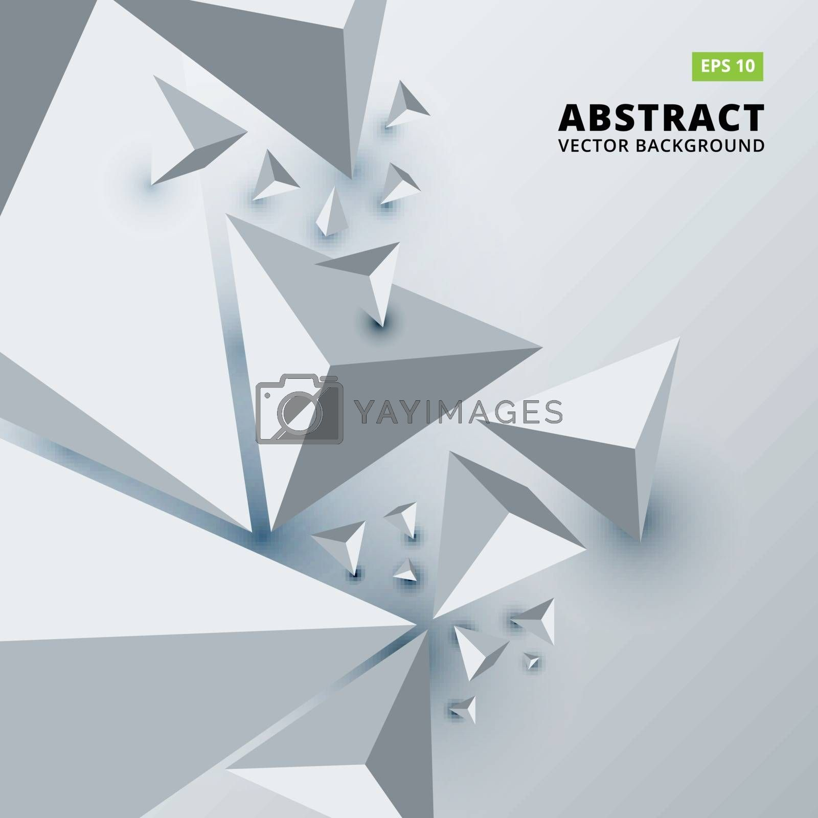 Abstract geometric background for your business presentation, print, ad, brochure, poster, flyer, leaflet, magazine, White copy space 3D triangles, Vector illustration