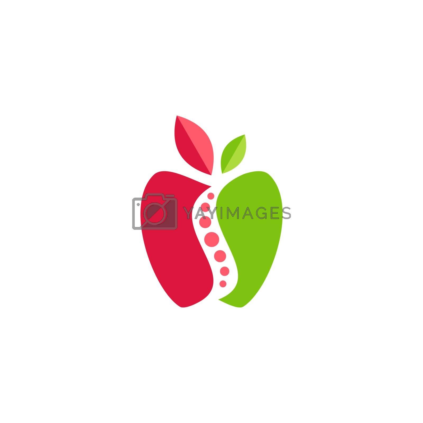 apple fruit nutrition logo symbol icon vector design, red green apple conceptual spine health care illustration logotype