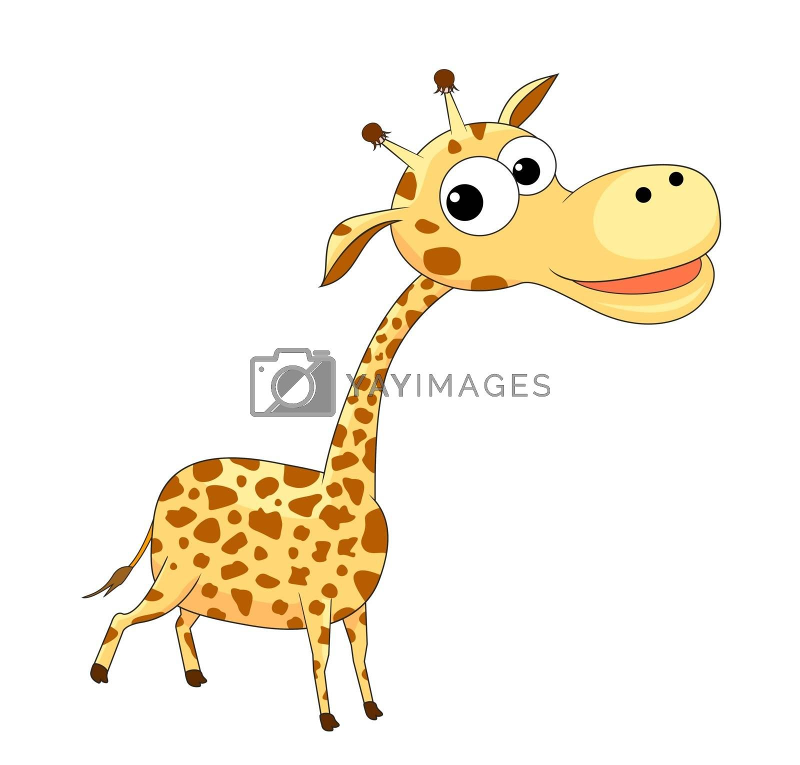 A small cartoon giraffe on a white background.