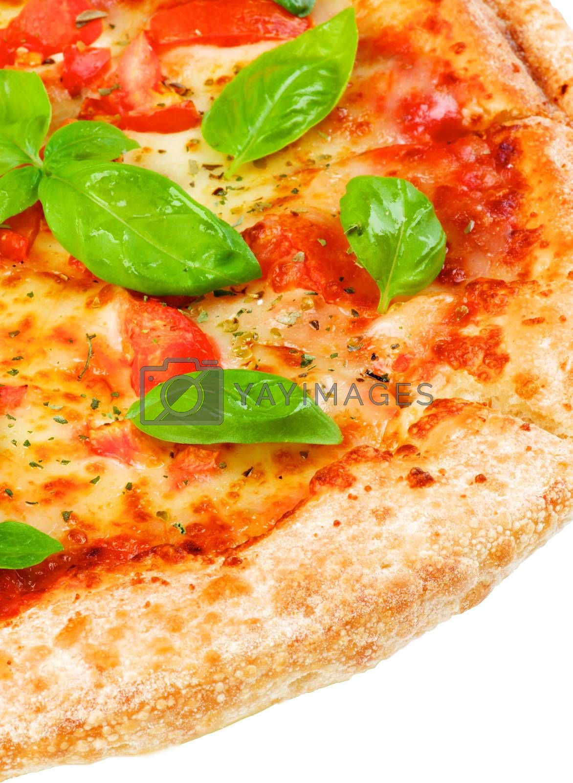 Slice of Freshly Baked Homemade Margherita Pizza with Tomatoes, Cheese and Basil Leafs isolated on White background