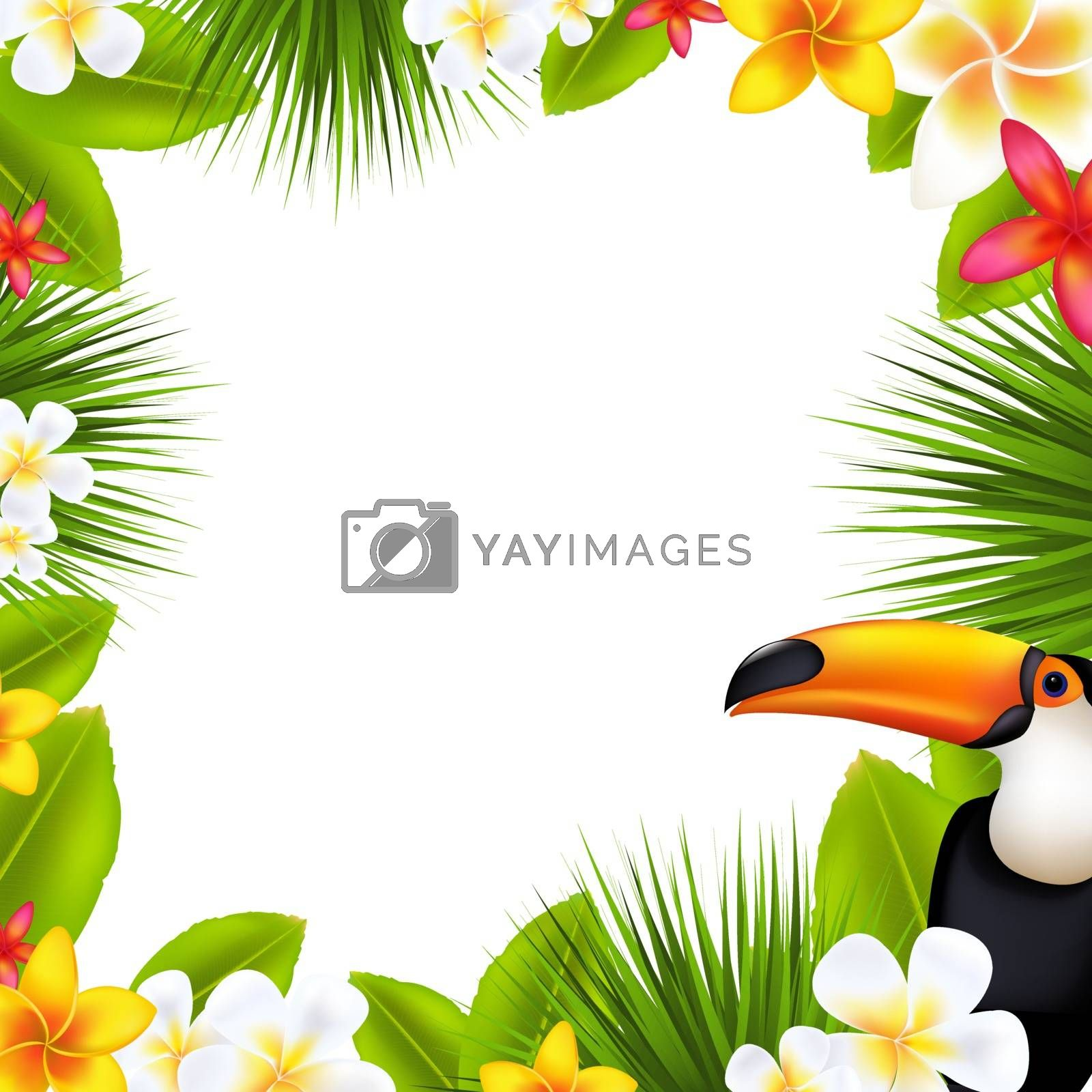 Tropical Frame With Frangipani, With Gradient Mesh, Vector Illustration