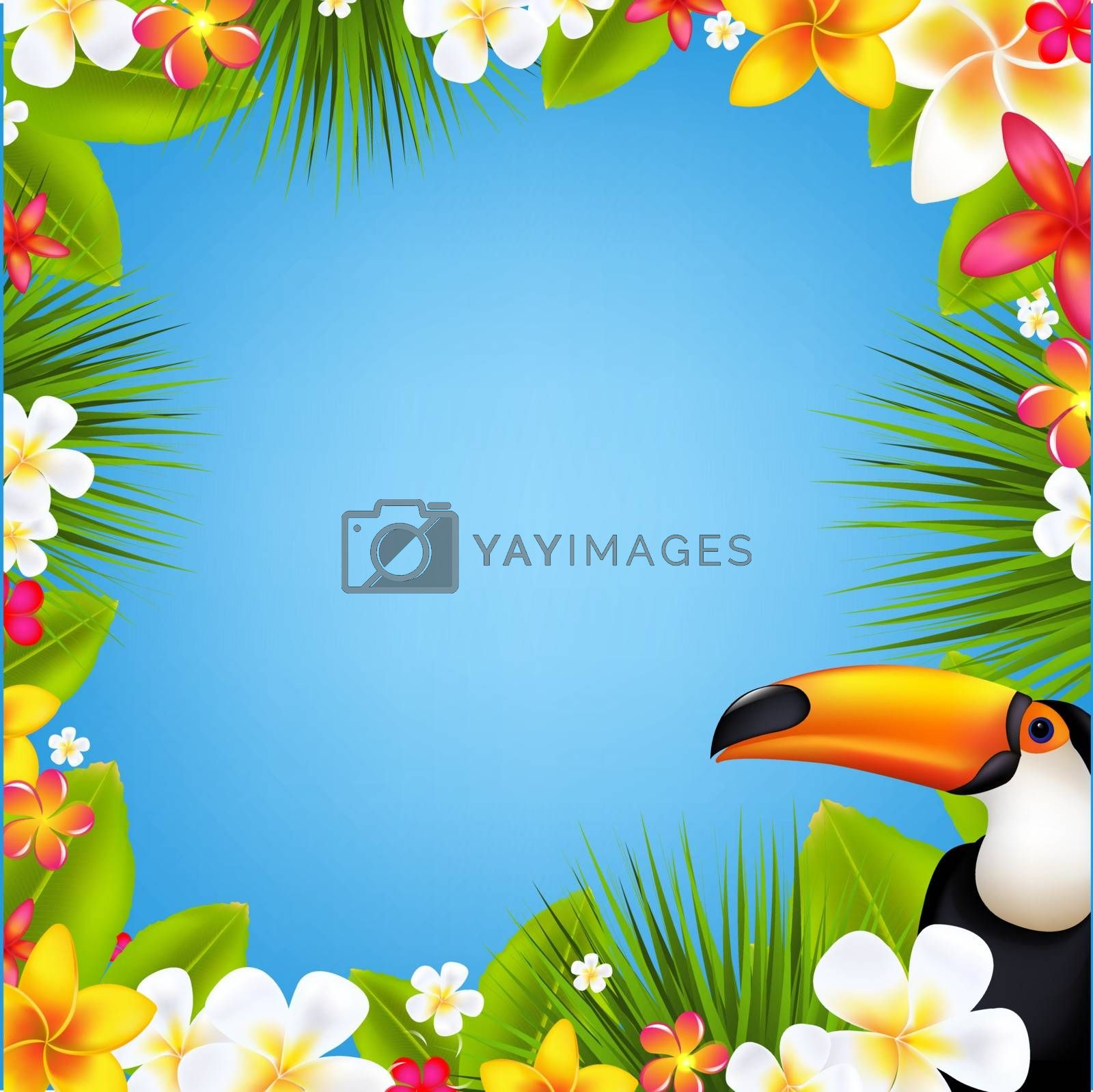 Sale Banner With Frangipani With Gradient Mesh, With Gradient Mesh, Vector Illustration