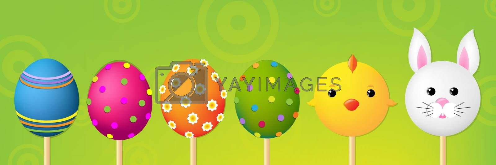 Easter Header With Gradient Mesh, Vector Illustration