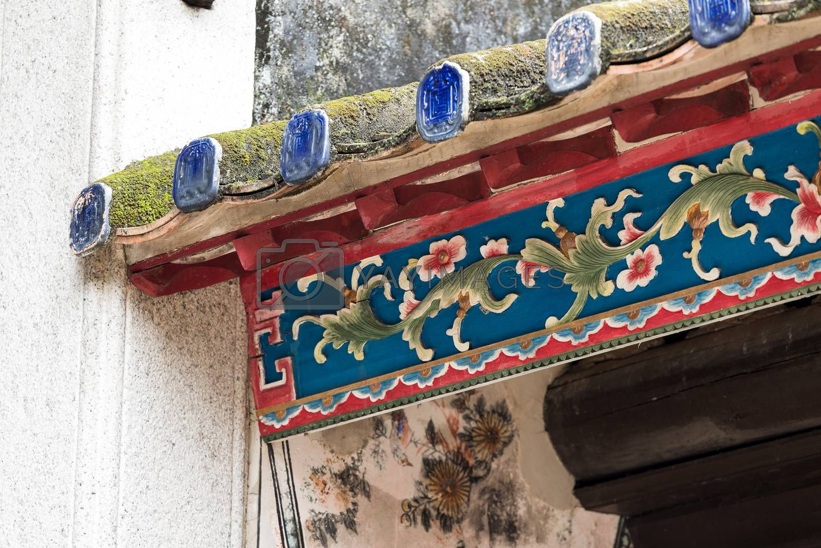 Royalty free image of Chinese roof tile by leungchopan