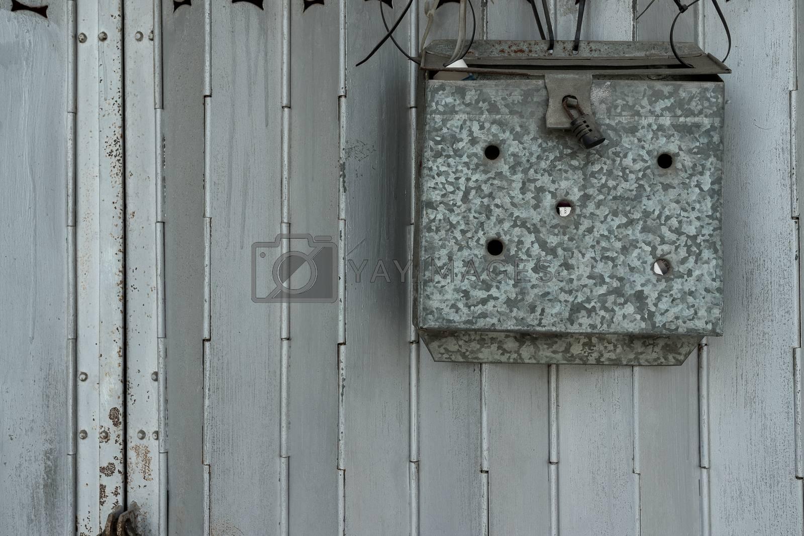 Metal mail box at door in Hong Kong