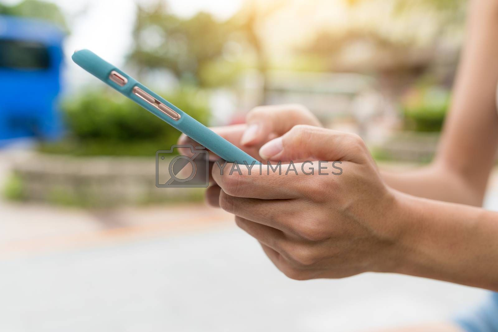 Using mobile phone in the street