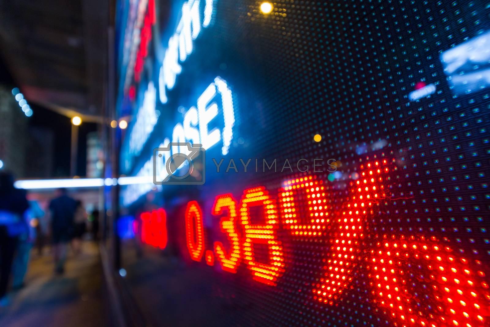 Stock market display board at street