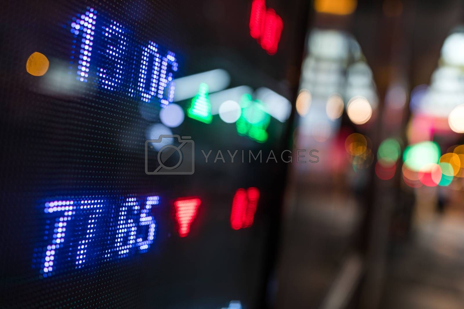 Stock market price display in the city at night
