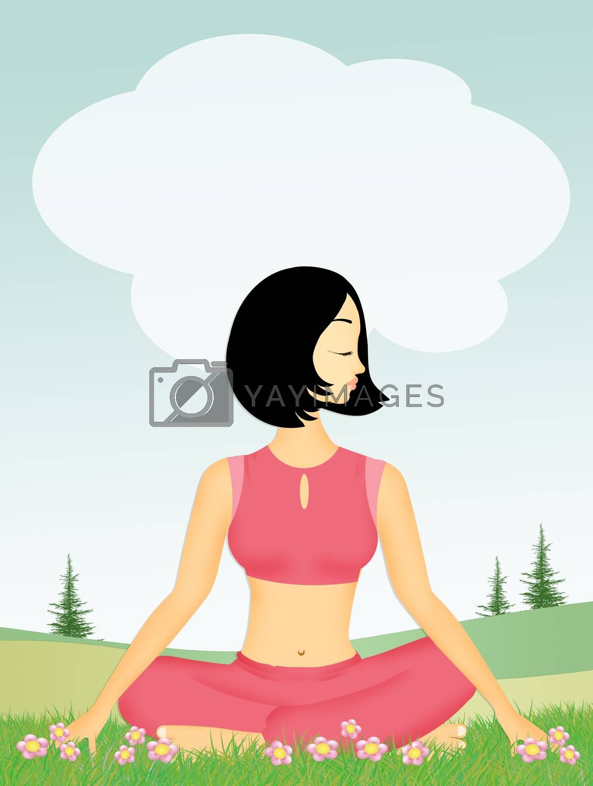 illustration of girl doing yoga in the meadow