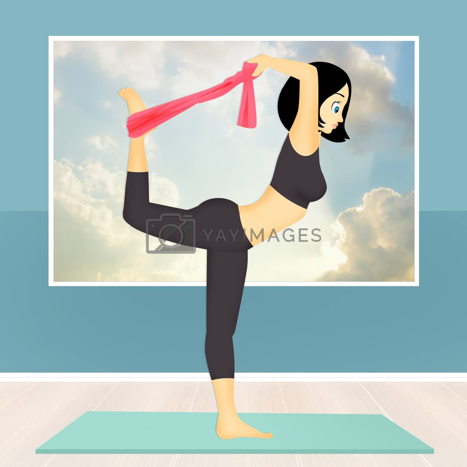 illustration of girl doing yoga pose