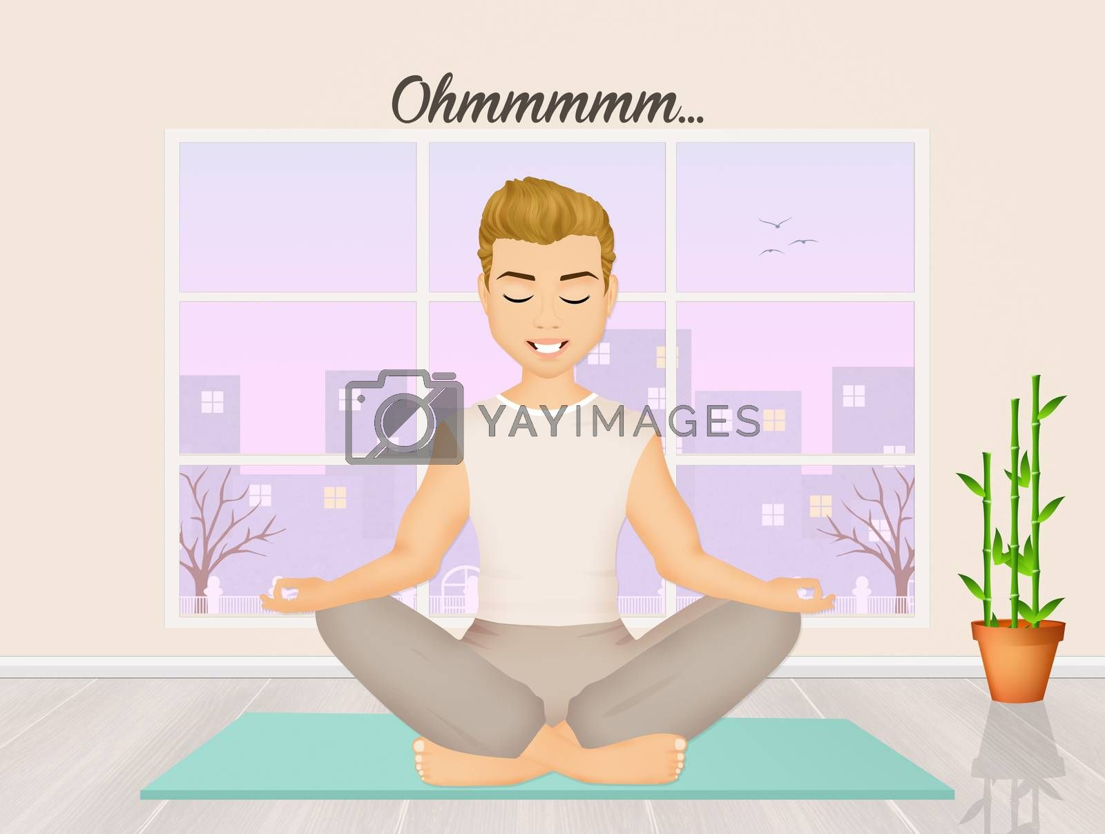 illustration of man doing yoga