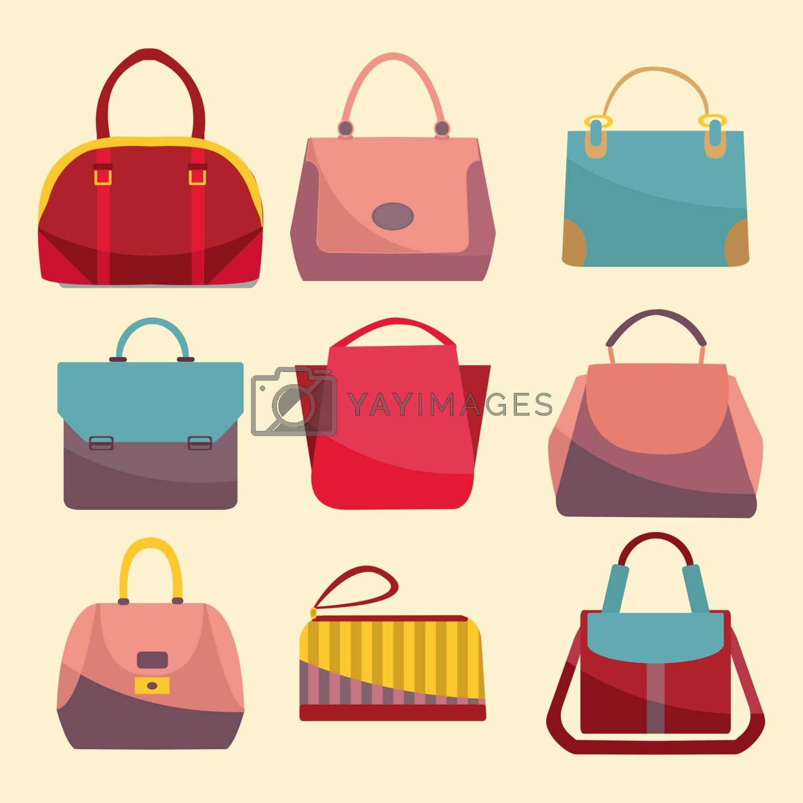 Fashion Bags set icon. Set of different fashion woman bags Flat design