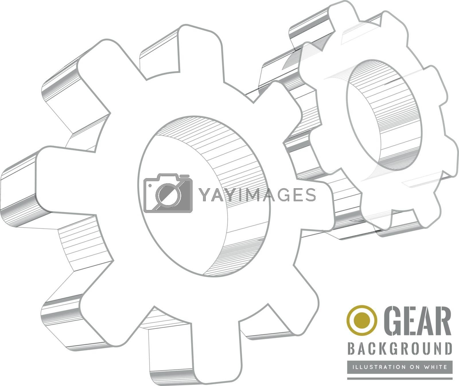 Gear schematic vector illustration on white background