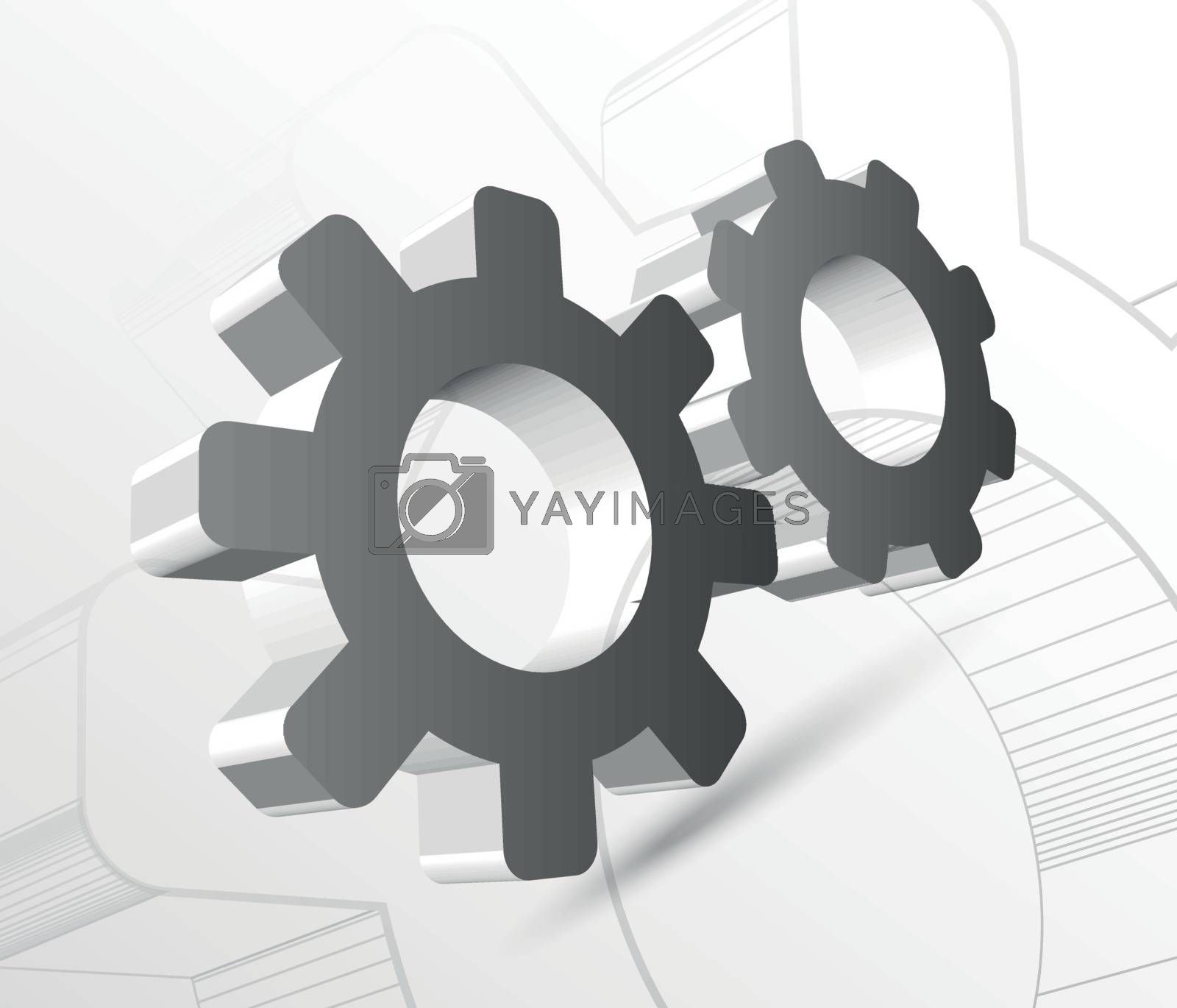 Gear with drawing vector illustration on light background