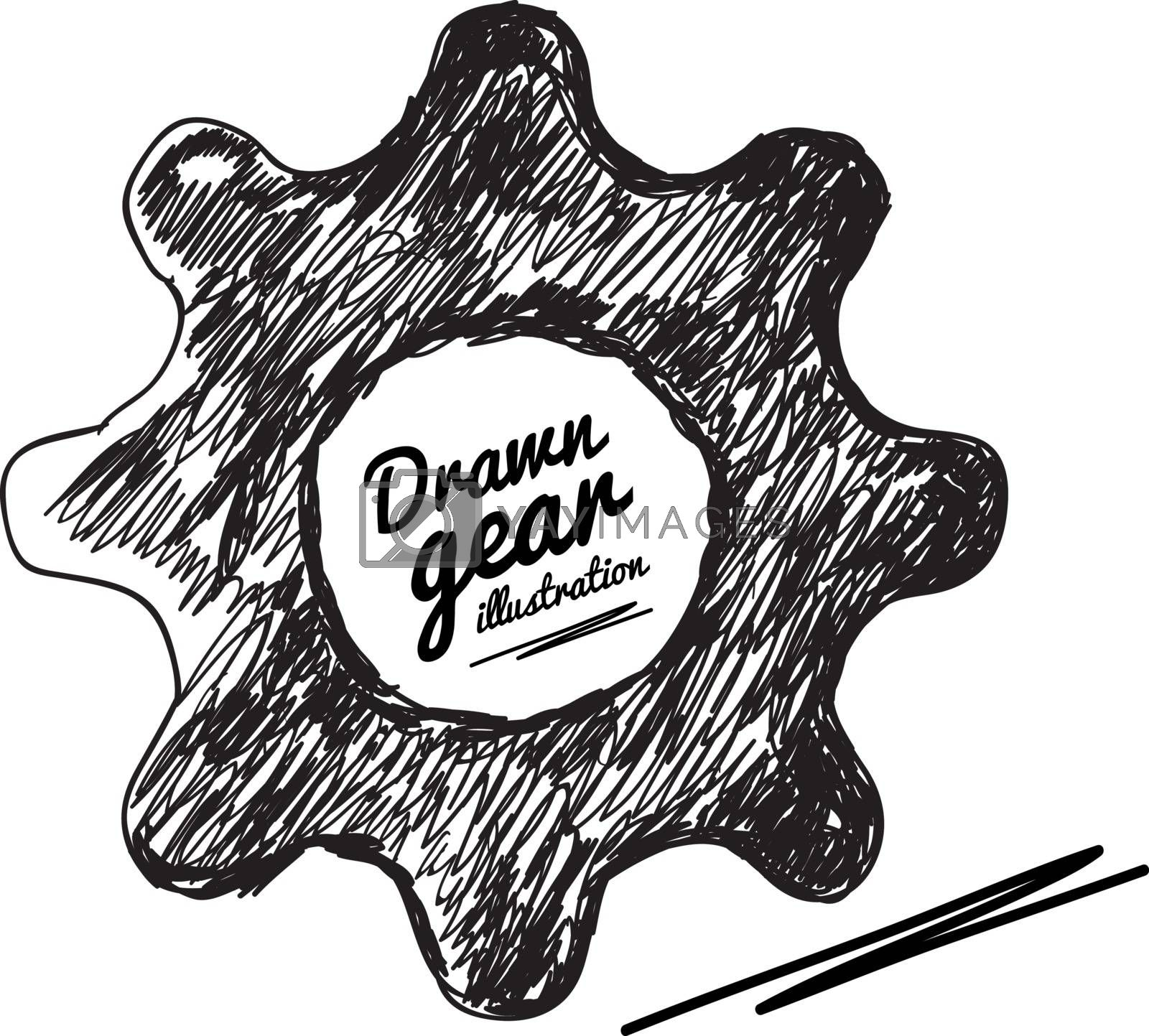 Gear drawn vector illustration on white background