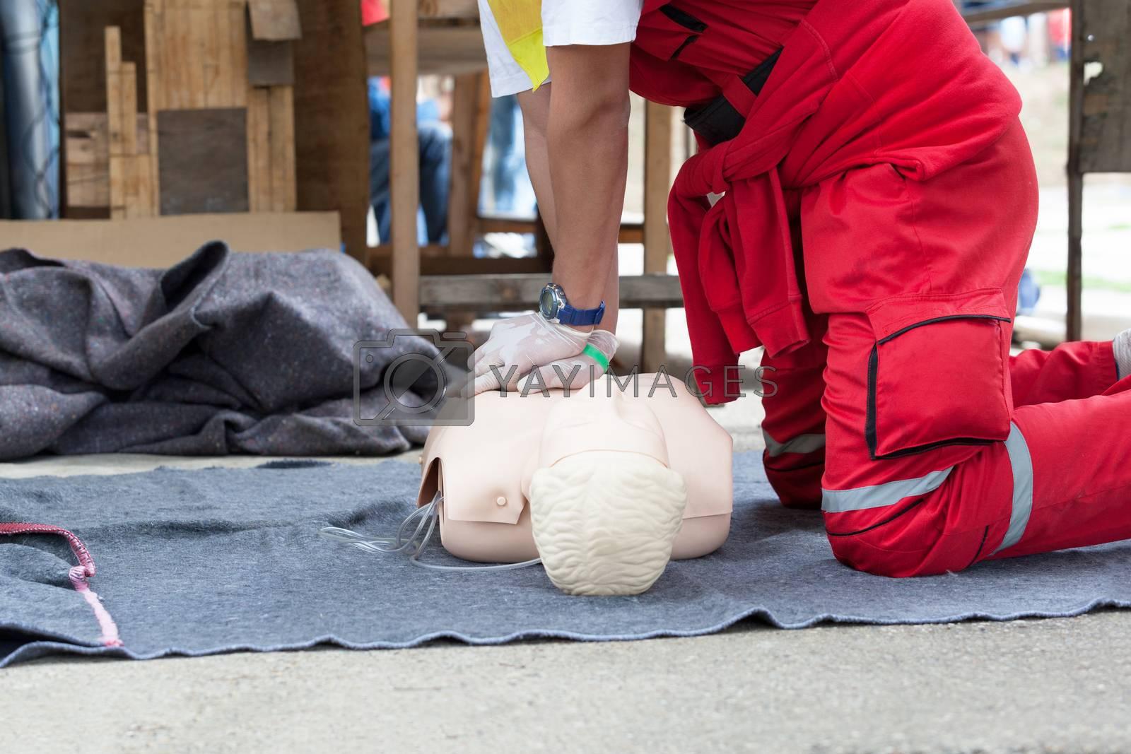 First aid training detail. Cardiopulmonary resuscitation - CPR.