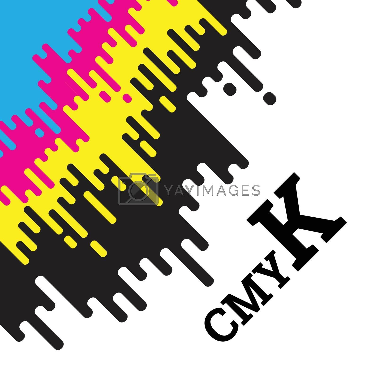 CMYK concept vector illustration with rounded irregular lines