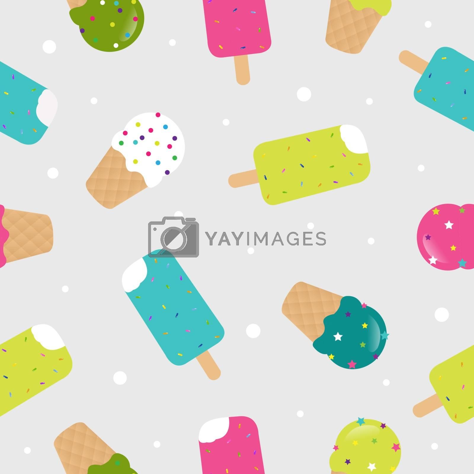 Seamless Pattern Ice Cream, Vector Illustration