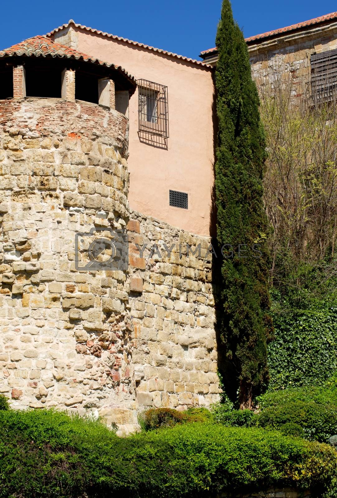 Obsolete House with Tower, Gallery and Surrounded Wall with Plants Outdoors. Salamanca, Spain