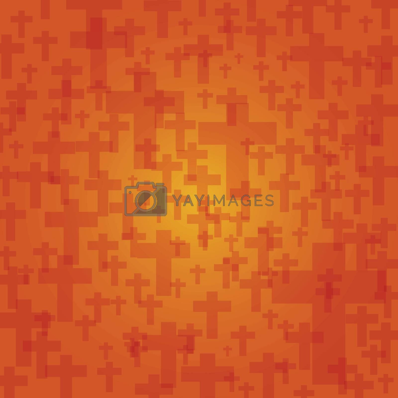 background dark orange color halloween with crucifix pattern texture, vector illustration