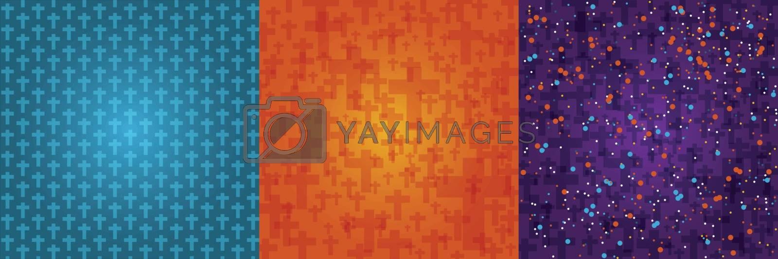 Set background dark orange, blue, purple color halloween with crucifix pattern texture, vector illustration
