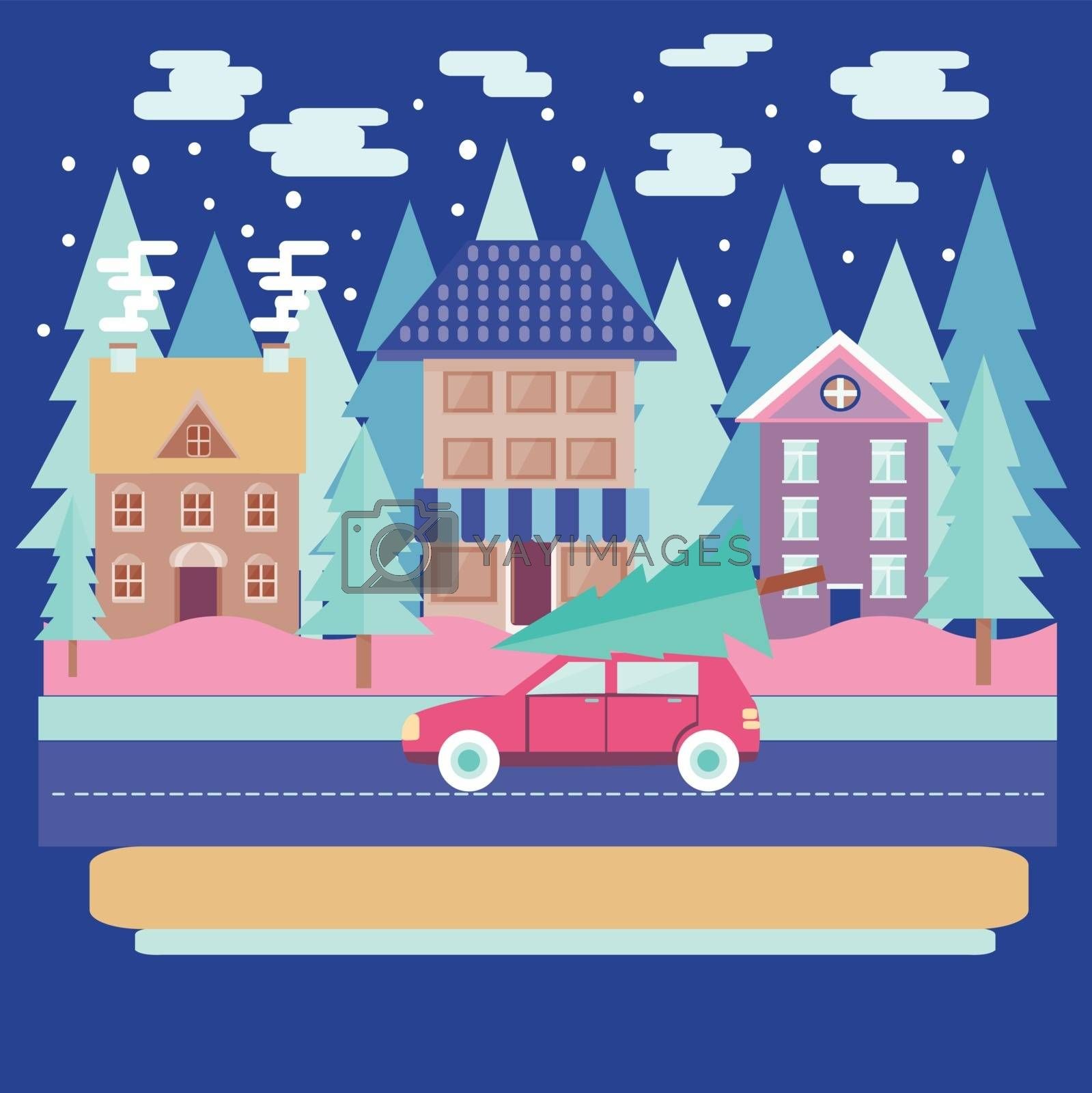 Merry Christmas and winter holiday greeting card design with Winter city landscape with firs in flat modern style.