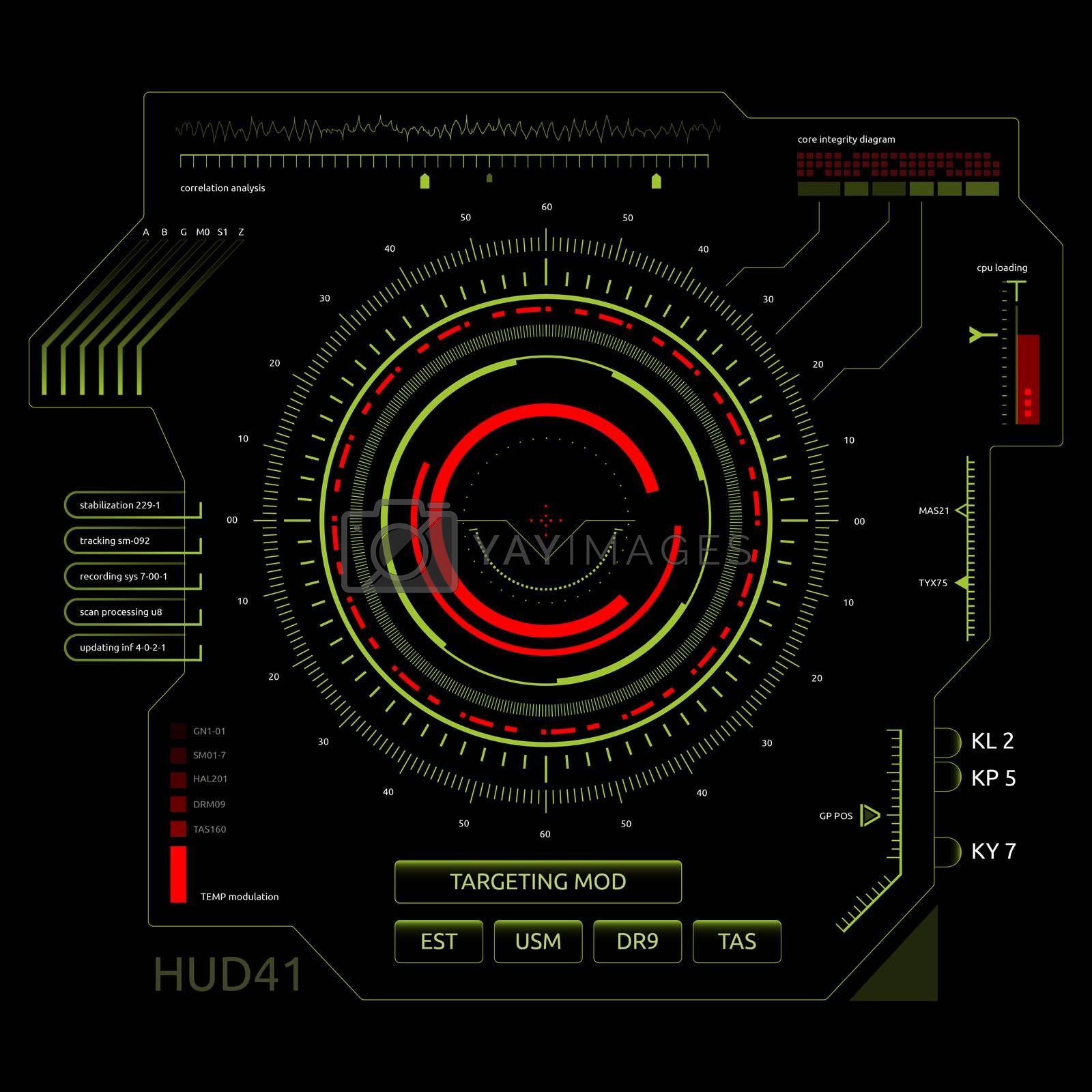 Set of futuristic user interface elements for dashboard or control panel. Raster version