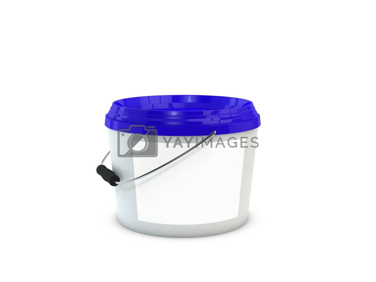 White plastic paint bucket mock up with blue cap and blank lable. 3d illustration isolated on white background