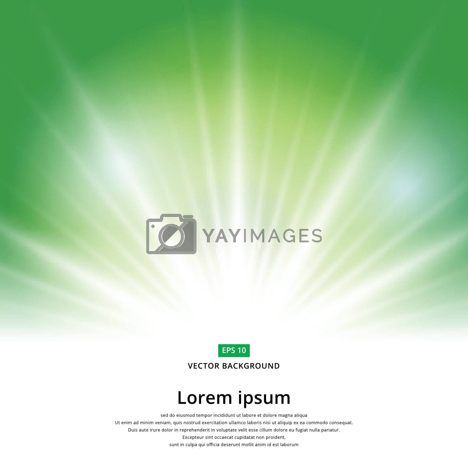 sunlight effect sparkle on green background with copy space. Abstract vector illustration